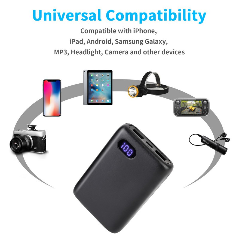 miniature 3 - 50000mAh Fast Charge Power Bank Type-C Micro input Portable Charger For IPhone
