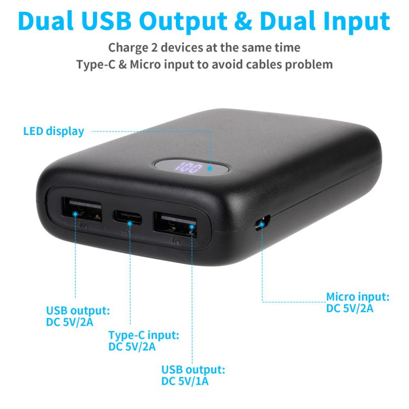miniature 8 - 50000mAh Fast Charge Power Bank Type-C Micro input Portable Charger For IPhone